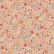 Makower UK - Ellie - 6228 - Modern Floral on Dusky Pink - 2067_P - Cotton Fabric